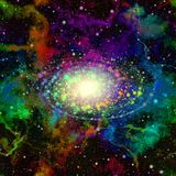 Abstract colorful universe. Nebula starry sky. Multicolor outer space. Shiny galactic center. Supernova explosion. Texture back. Abstract universe in rainbow royalty free illustration