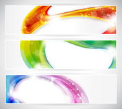 Abstract colorful vecter header set. Set of abstract colorful web headers made of overlying abstract shapes with light effects. Space for your text, eps10 Stock Photography