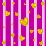 Abstract colorful VECTOR background. Golden hearts on striped magenta and pink background. Vertical stripes. Festive backdrop Stock Photos