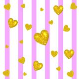 Abstract colorful VECTOR background. Golden hearts on striped white and pink background. Festive backdrop. Abstract colorful VECTOR background. Golden hearts on Royalty Free Stock Image