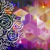 Abstract colorful vector background and rose Royalty Free Stock Photography