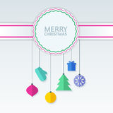 Abstract colorful vector baubles on badge. Christmas or New Year Stock Photo