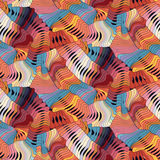 Abstract colorful vector seamless moire pattern with waving circle lines. Rainbow ornament in 70s style stock illustration