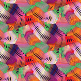 Abstract colorful vector seamless moire pattern with waving circle lines. Rainbow ornament in 70s style.  royalty free illustration