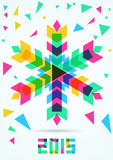 Abstract colorful vector snowflake with winter background. Chris. Tmas or New Year greeting card Stock Photography