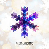 Abstract colorful vector snowflake with winter background. Christmas or New Year greeting card. Stock Photo