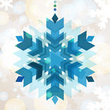 Abstract colorful vector snowflake with winter background. Chris Royalty Free Stock Images