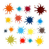Abstract Colorful Vector Splashes Set. Isolated on White Background Stock Photo