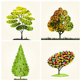 Abstract colorful vector trees background stock illustration