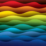 Abstract colorful water waves of ocean or sea background. (backdrop) - vector graphic. This illustration contains layers smooth layers of water waves in rainbow