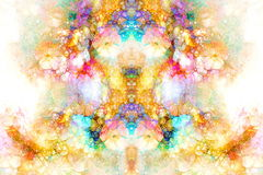 Abstract colorful watercollor design with flower and spots. Computer art. Stock Photos
