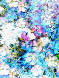 Abstract colorful watercollor design with flower and spots. Crackle effect. Stock Image