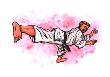 Karate man kick The Power of Karate-Do, 2017. An abstract colorful watercolor cartoon illustration of a young man wearing a karate suit and doing a karate kick Royalty Free Stock Photography