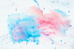 Abstract colorful watercolor hand drawn image for splash background, pink and blue shades on white. Artwork for creative Stock Photography