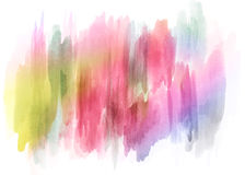 Abstract colorful watercolor paint spray backdrop - hand drawn background. In yellow, pink and blue on white background Royalty Free Stock Images