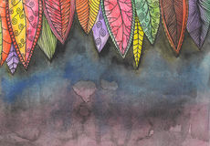 Abstract colorful watercolor painted background. Abstract colorful watercolor painted background with bright stylized leaves Royalty Free Stock Image