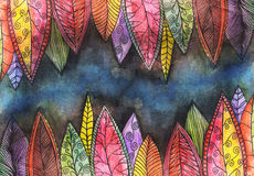 Abstract colorful watercolor painted background. Abstract colorful watercolor painted background with bright stylized leaves Stock Image