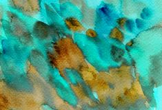 Abstract colorful watercolor splashes, drops, brush smears background. Hand painted turquoise, brown texture for covers, packaging vector illustration