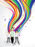 Abstract colorful wave background with boy. Vector illustration royalty free illustration