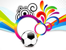 Abstract colorful wave background with football. Vector illustration Royalty Free Stock Photos