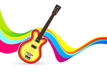 Abstract colorful wave background with guitar. Vector illustration Stock Image
