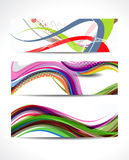 Abstract Colorful Wave Banner Set Royalty Free Stock Photography