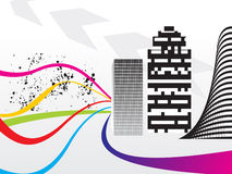 Abstract colorful wave with building concept. Vector illustration Royalty Free Stock Photos