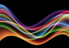 Abstract colorful wave curve motion on black background luxury vector vector illustration