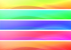 Abstract colorful waves banners. Set of abstract multicolor waves web banners stock illustration