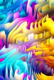 Abstract colorful waves digital 3d art background. High Quality, resolution, unique piece. Very useful for banners, business cards, future tech Stock Images