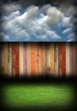 Abstract colorful wood fence in backyard Stock Photo