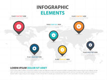 Abstract colorful world map with pin business Infographics elements, presentation template flat design vector illustration for web Stock Photography