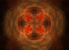 Abstract colorful yeloow and orange fractal on black background. Fantasy fractal texture. Digital art. 3D rendering. Computer gene. Nerated image Vector Illustration