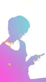 Abstract colorful young generation with modern lifestyle, smartphone and technology stock photography
