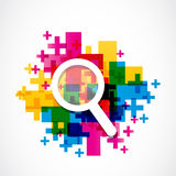 Abstract colorful zoom in icon Stock Images