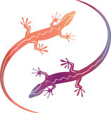 Abstract colorfull decorative lizards Stock Image