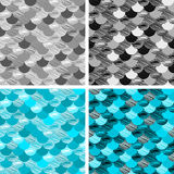 Abstract colorfull wave seamless pattern. the fabric. Scales vector blue. black and white. grey Royalty Free Stock Image