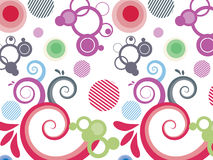 Abstract colorfully background. Illustration of the abstrac background with swirls circles and stripes royalty free illustration