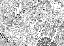 Abstract coloring with a fabulous kingdom Royalty Free Stock Images