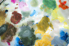 Abstract colors on artist`s palette Stock Image
