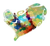 Abstract colors, contrasts and playful forms. Isolated heart. Royalty Free Stock Image