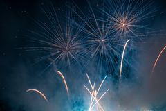 Blue and Red Colors Fireworks Lights Stock Image