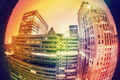 Abstract colors fisheye night offices picture. Royalty Free Stock Photo