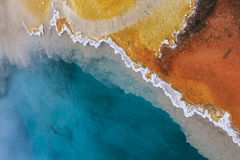 Abstract colors of hot spring in Yellowstone National Park stock images