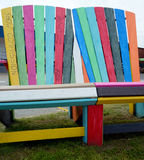 Abstract colors of large wooden chairs. Stock Photography