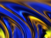 Abstract blue gold brown yellow colors and background. Lines in motion. Abstract colors and lines in motion, gold, blue, brown, yellow hues. Creative curves and Royalty Free Stock Photos