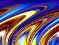 Abstract blue gold phosphorescent colors and background. Lines in motion. Abstract colors and lines in motion, purple, gold, phosphorescent hues. Creative curves Stock Photos