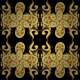 Abstract colors picture. Vector golden seamless pattern. Golden elements in oriental style arabesques. Seamless pattern on black, yellow and brown colors Stock Image