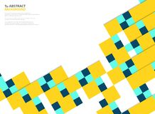 Abstract colors square paper cut pattern modern design in yellow, blue on white background. You can use for paper cut design of. Poster, ad, cover, artwork vector illustration