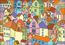 Abstract colour drawing of city background. Abstract colour image of old city Stock Image